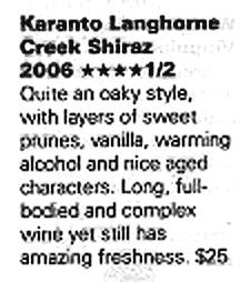 Winestate Magazine, Award, November December 2009 edition, 4.5 stars, clipping